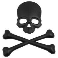Skull Bone 3d design motorcycle car emblem badge sticker black B3L8