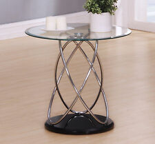 Lamp Side End Coffee Table Clear Round Glass Top Chrome Spiral Frame