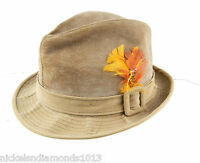 Vintage Men's Golden Coach DOBBS Tan Suede Fedora US Hat Size 7 Leather
