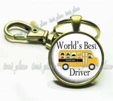 World's Best School Bus Driver Glass Key Chain Kids School Appreciation Gift