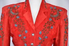 Renegade By Ren Ellis Women's Suede Blazer Size Small Jacket Red Jeweled Floral