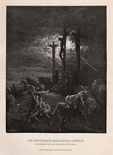 "Captivating GUSTAVE DORE 1800s Woodcut ""The Dark Crucifixion"" SIGNED FRAMED COA"