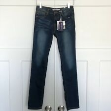 Vigoss Youth Girls Jeans Size 14 Dark Wash Skinny Adjustable Waist NEW