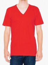 American Apparel Fine Jersey V Neck Tee T-shirt Short Sleeve 2456 Red XXS 2XS