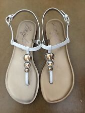 Authentic Brighton Oolala White T Strap Silver Gold Flat Sandals