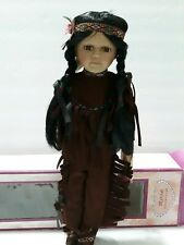 Vintage Rose Collection Porcelain American Indian Doll & Stand Nib*
