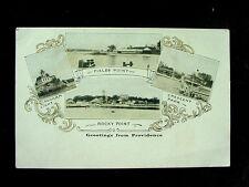 c1905 Ponham Light Fields Point Crescent Park Rocky Point RI multi-view postcard