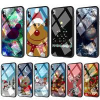 Santa Merry Christmas Xmas Glass TPU Case for iPhone 11 Pro XS MAX X 8 7 Plus XR