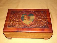 VINTAGE RED HAIR LADY HEART WOOD JEWELRY TRINKET BOX