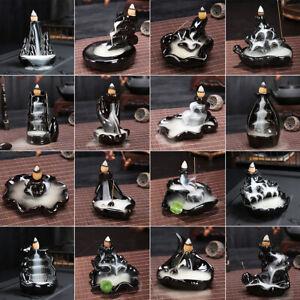 60 Cone Ceramic Waterfall Backflow Incense Burner Lotus Smoke Home Censer Holder