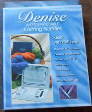 """Denise Interchangeable Knitting Needles 5-15 17"""" -58"""" Blue Case & Freebie"""