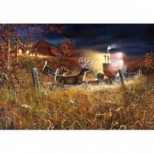 Jim Hansel Field of Dreams II Tractor Deer Print  12 x 7.75