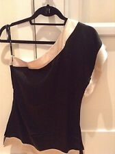 Bebe silk one shoulder Black & Ivory Colored top NWT In XS