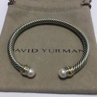 David Yurman Sterling Silver & 14k Gold Pearl 5mm Cable Cuff Bracelet