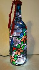 Hummingbird Bottle Lamp Handpainted Lighted Stained Glass Look