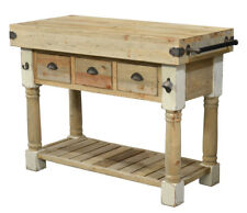 "47""L Rustic Farmhouse Pine Wood White Chalk & Natural Kitchen Island Console"