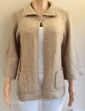 Atmosphere Beige Chunky Knit Mohair Blend Swing Style Cardigan Size 16 (K70)