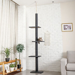 Cat Tree Scratching Post 3 Tier Floor-to-Ceiling Kitten Funny Climbing Jump Toys