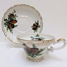 STERLING Bone China Teacup & Saucer Japan, Pine Cones