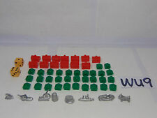 "Vintage 1961 Monopoly 1"" Metal Replacement Figures-Dice-House-Hotel Parts Lot"