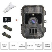 16MP 1080P 16GB Trail Hunting Camera Waterproof + Card Reader With 2pcs Belt