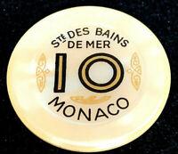 Monaco • Sociètè Des Bains De Mer 10 Franc • Vintage Casino Chip