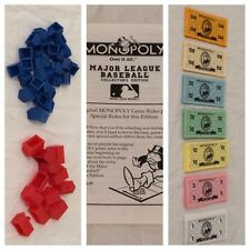 Monopoly Major League Baseball Board Game REPLACEMENT Parts Pieces Money Houses