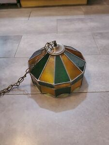 """16"""" Vintage Tiffany Style Hanging Light Lamp Shade Stained Glass Ceiling Fixture"""