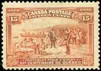 Canada #102 mint F-VF OG HR 1908 Quebec 15c orange Champlain's Departure