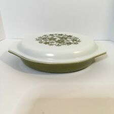 Vintage Pyrex Crazy Daisy Green Floral Oval Divided Casserole Dish  1 QT #063