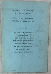 1960 Opening Day Midwest League Baseball Program Dubuque Packers Waterloo Hawks
