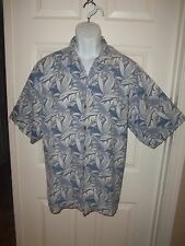 TOMMY BAHAMA BUTTON FRONT SHIRT SZ L 100% SILK SS COPYRIGHTED PRINT BLUES LEAF