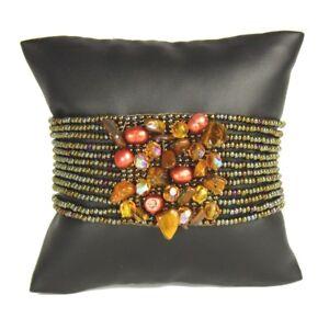 Czech Glass Bead GEM CLUSTER Bracelet Cuff Bangle BRONZE COPPER Tiger Eye Stone