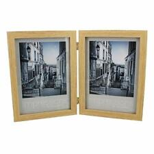 """Double Natural Wood Design 5"""" x 7""""  Photo Frame Gift New Boxed FW51957"""