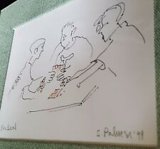 """The Deal"" Vtg 1999 Original CARD GAME Cartoon Art Line Drawing SIGNED S. Palmer"