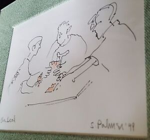 """The Deal"" Vtg 1999 Original CARD GAME Cartoon Art Line Drawing SIGNED S. Palmer"