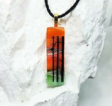 Fused Glass Pendant, Handcrafted Art, Scenic Forest Birds, Dichroic Thin Stick