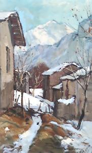 ARTURO BONANOMI Paesaggio Invernale Olio su tela , SANICO (CO)