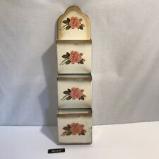 1950s Vintage Tin Mail Organizer, 3 Slot Gold Cream With Pink Roses By IVANHOE