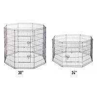 Foldable Exercise Pet Playpen 8 Panel Dog Fence Cage Backyard Black