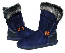 New Women's Short Boots Navy Blue Fur Lined Winter Snow shoe Ladies size 8