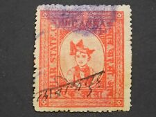 (1) used India-  Dhar State stamp off paper-1 anna fiscal trevenue -with fingerp
