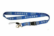 Greece Hellas Country Flag 52 x 2 Cm.. Lanyard Keychain Passholder... New