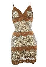 Y2K 90s Vintage Mini Dress Mesh Stretch Cheetah Lace V Neck Sheer Slip M Medium