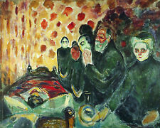 By The Death Bed Fever Munch Life Painting 8x10 Real Canvas Giclee Art Print