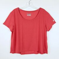 Under Armour Size Large Cropped Top Loose Fit Heat Gear Short Sleeve Red T Shirt