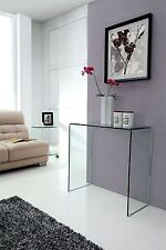 Crystal Modern Clear Bent Curved 12mm Tempered Small Glass Console Table
