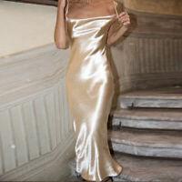 Sexy Strap Backless Dress Summer Women Satin Dress Elegant Bodycon Party Dresses