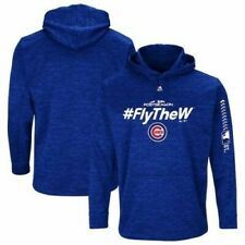 $80 Majestic Chicago Cubs 2018 Postseason #FLY THE W Hoodie Sweatshirt Medium