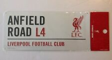 """Liverpool FC Metal 3D Sign 16""""x7"""" Anfield Road L4 New White"""